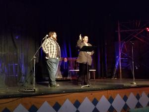 "John and Becci performing ""Who's on First?"""